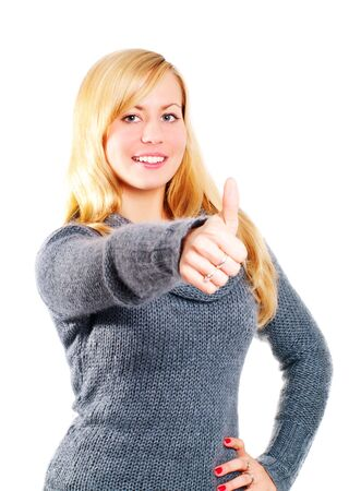 smiling blond woman pointing ok sign over white photo