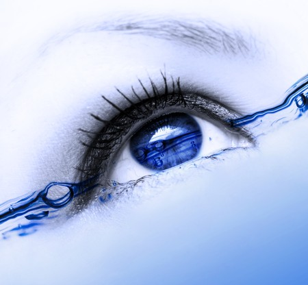 woman eyeball: abstract water eye with many bubbles