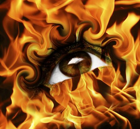 abstract burn eye with fire  Stock Photo