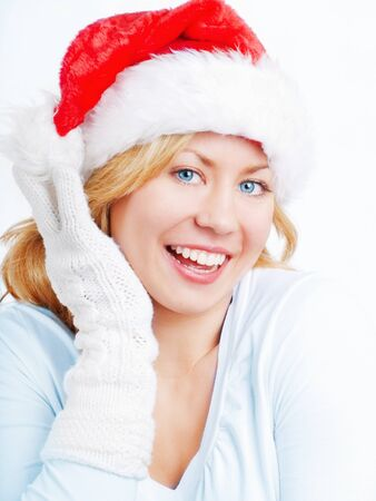young christmas woman over bright background photo