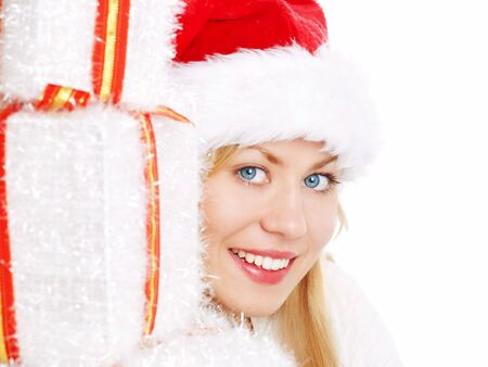 young christmas woman with presents  photo