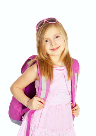 smiling girl with backpack over white background