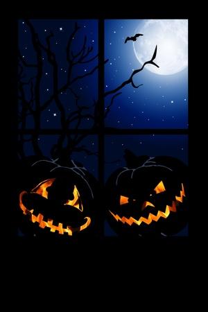 halloween pumpkin looking at window at night