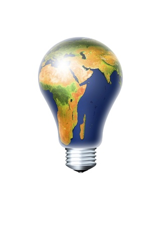 light bulb with planet earth isolated over white background photo