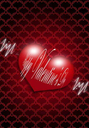 valentines day greeting card over red dark background Stock Photo - 12010996