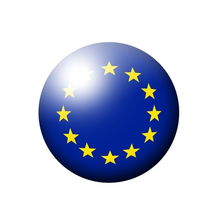 european union flag ball over white background photo