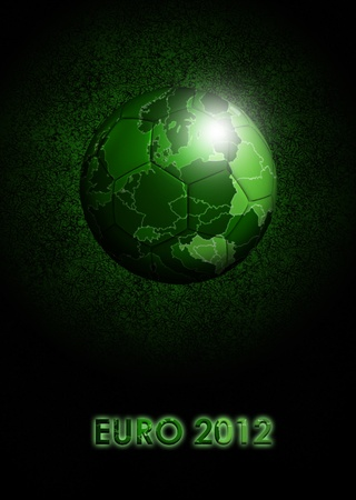 soccerball: soccer-ball with european green map over dark background