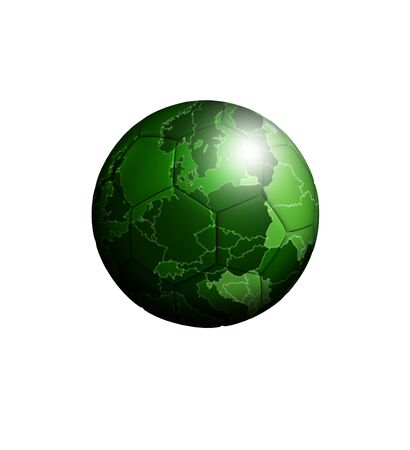 soccerball: soccer-ball with european green map isolated over white background