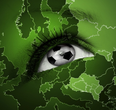 football eye with european map texture photo