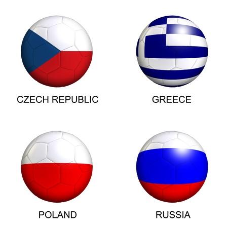 Fußbälle mit europäischen Flaggen der Gruppe A EM 2012 über weißem Hintergrund Standard-Bild - 12420835