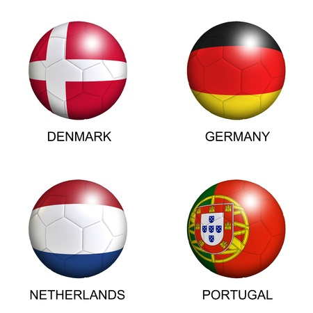 soccer balls with european flags of group B euro 2012 over white background photo