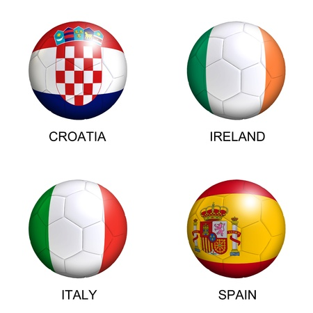 soccer balls with european flags of group C euro 2012 over white background photo