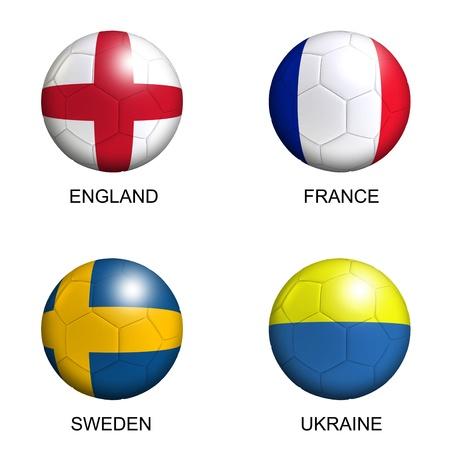 Fußbälle mit europäischen Flaggen der Gruppe D EM 2012 über weißem Hintergrund Standard-Bild - 12420836
