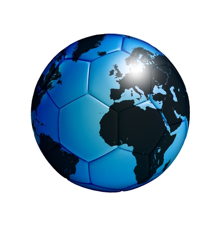 blue soccer ball with world map isolated over white background photo