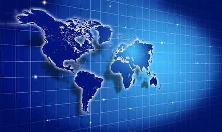shining blue world map over dark background