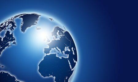 shining blue world map over dark background photo