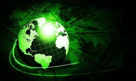 fondo verde oscuro: brillando con el mundo de d�lares en fondo verde oscuro Foto de archivo