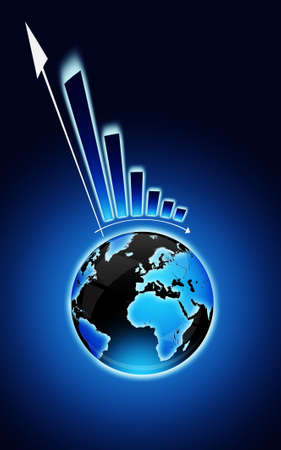 exclamation mark with globe and financial chart over dark blue background photo