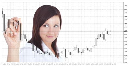 smiling businesswoman touching forex chart over white background. focus on hand photo
