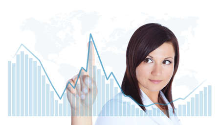 smiling young woman touching business chart over white background photo