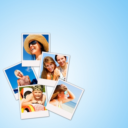 pictures of holiday people having rest over blue background photo