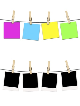 noted: blank photographs and postcard noted  hanging on clothesline isolated over white background Stock Photo