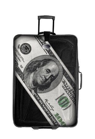 dark suitcase withone hundred dollars drawing isolated over white background Stock Photo - 14063759