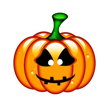 frightful: halloween pumpkin isolated over white background