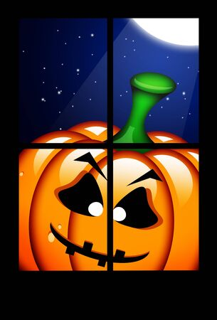frightful: orange halloween pumpkin in dark window