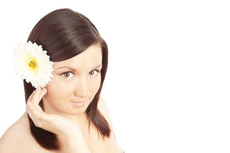beautiful woman isolated over white background photo