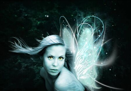 fairy woman with butterfly wings over dark background photo