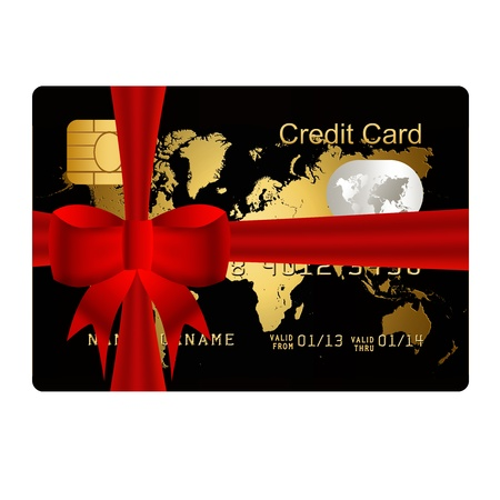 christmas debt: gold credit card present with red bow Stock Photo