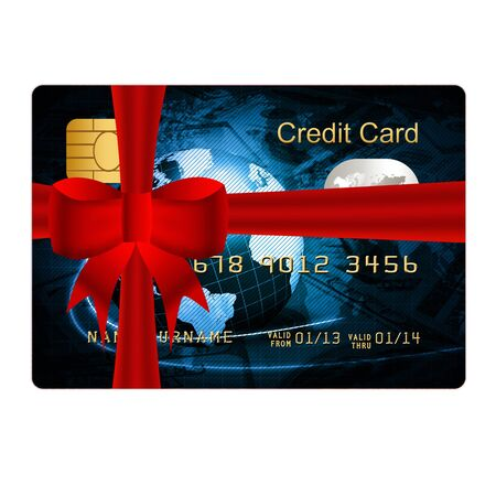 christmas debt: blue credit card present with red bow Stock Photo