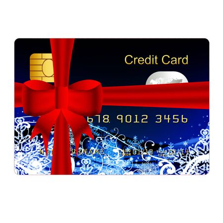 blue credit card present with red bow photo
