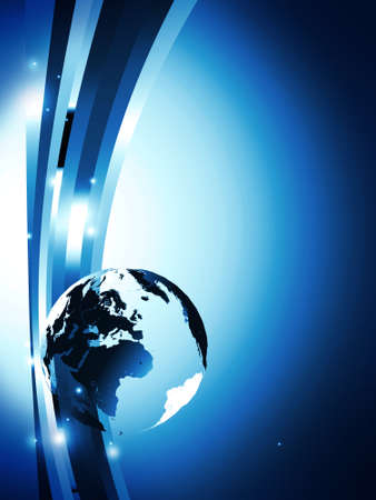 globe earth: dark blue background with glass globe and lines
