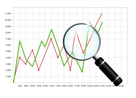 Business chart with magnifying glass isolated over white background photo