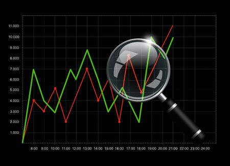 Business chart with magnifying glass isolated over black background photo