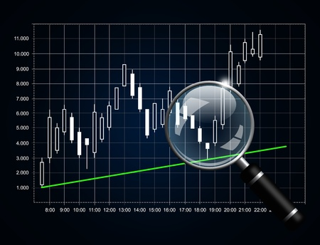 japanese candlestick chart with magnifying glass isolated over dark background photo
