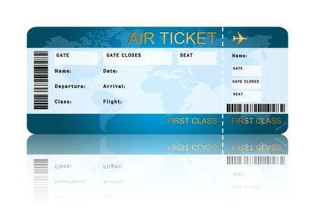 그림자와 항공 보 딩 패스 티켓 흰색 배경 위에 절연