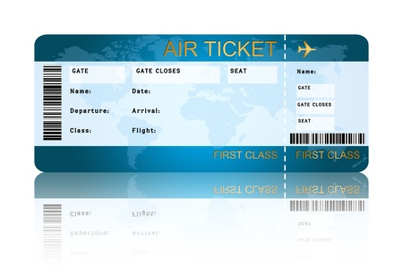 boarding card: airline boarding pass ticket with shadow isolated over white background
