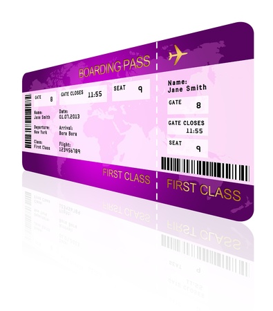 business class travel: airline boarding pass ticket with shadow isolated over white background
