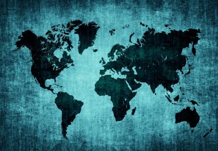old map of the world on dark blue grunge background Reklamní fotografie