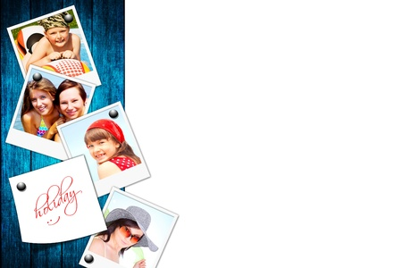 photos of holiday people on wood board background 스톡 콘텐츠