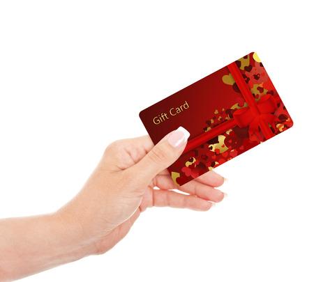 hand holding gift card isolated over white background Reklamní fotografie