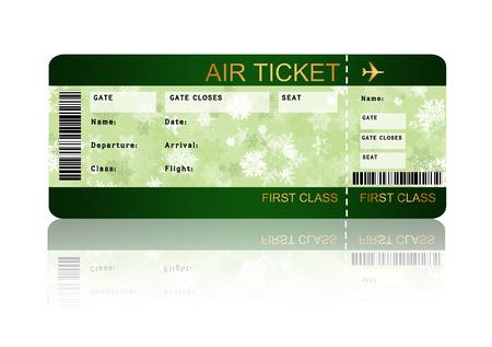 クリスマス航空搭乗チケット カウンター ホワイト上分離した影