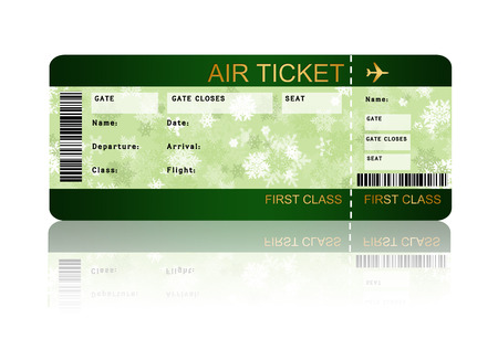 christmas airline boarding pass ticket with shadow isolated over white  Banque d'images