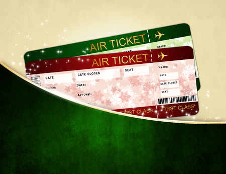 christmas airline boarding pass tickets in dark pocket photo