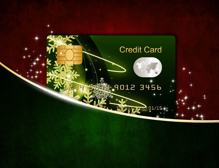 non cash: christmas credit card in red envelope isolated over white