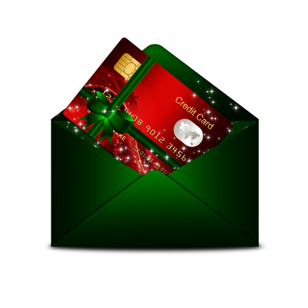 non cash: christmas credit card in green envelope isolated over white