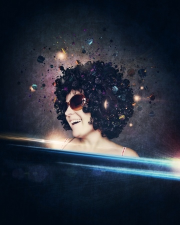 smiling woman with afro hair listen to music with headphones   photo